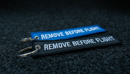 Embroidered Remove Before Flight Keychains 2-Pack BLACK/BLUE 5.8x1.8