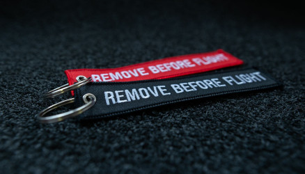Embroidered Remove Before Flight Keyrings 2-Pack RED/BLACK 5.5x1.8