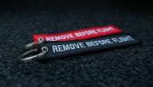 porte-clés x2 rougenoir brodés 140x30