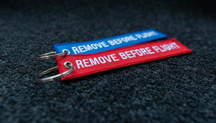 Embroidered Remove Before Flight Keyrings 2-Pack BLUE/RED 5.5x1.8
