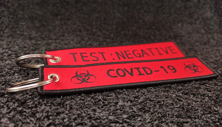 Red Woven Coronavirus Key Chain