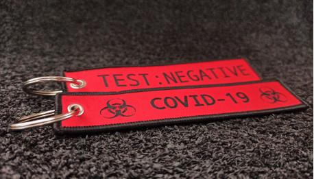Red Woven Coronavirus Keychains