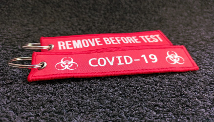 Covid-19 Remove Before Test Keychain