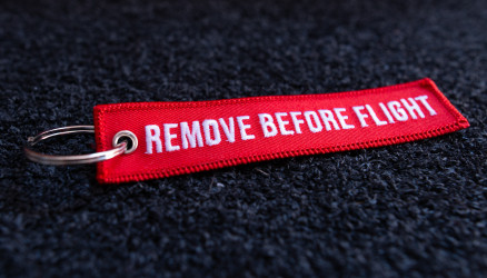 Red Embroidered Remove Before Flight Keyring 4.72x0.98