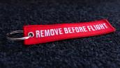 porte-clés brodé RBF rouge 120x25