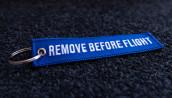 porte-clés brodé RBF bleu 120x25