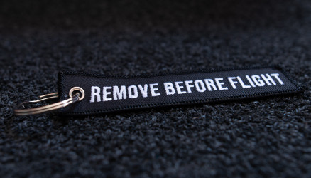 Black Embroidered Remove Before Flight Keychain 4.72x0.98