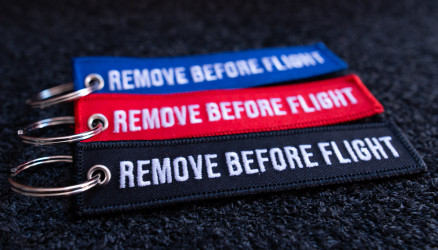 Embroidered Remove Before Flight Keyrings 3-Pack 4.72x0.98