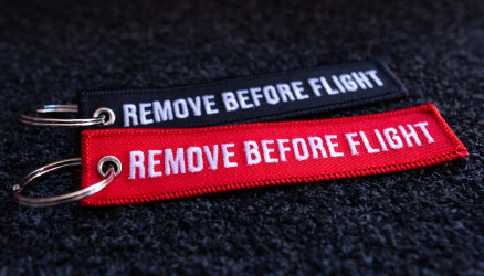 Embroidered Remove Before Flight Keyrings 2-Pack RED/BLACK 4.72x0.98