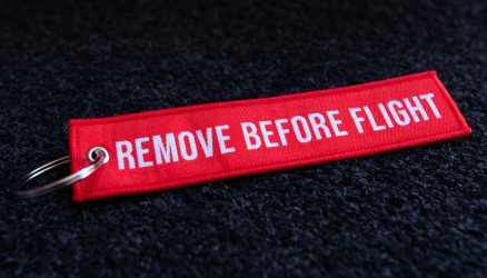 Red Woven Remove Before Flight Keyring 5.5x1.8