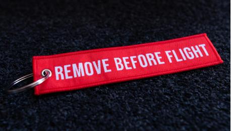 porte-clés tissé RBF rouge 140x30