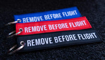 Woven Remove Before Flight Keyrings 3-Pack 5.5x1.8
