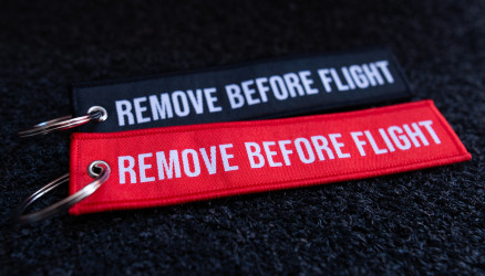 Woven Remove Before Flight Keyrings 2-Pack RED/BLACK 5.5x1.8