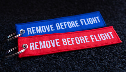 Woven Remove Before Flight Keyrings 2-Pack RED/BLUE 5.5x1.8