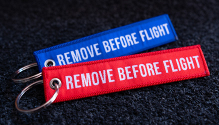Woven Remove Before Flight Keyrings 2-Pack RED/BLUE 4.72x0.98