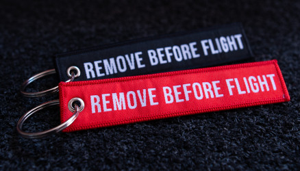 Woven Remove Before Flight Keyrings 2-Pack RED/BLACK 4.72x0.98