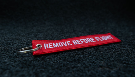 Red Embroidered Remove Before Flight Keyring 5.50x1.18