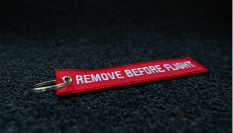 porte-clés brodé RBF rouge 140x30