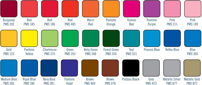 Charte de couleurs PMS