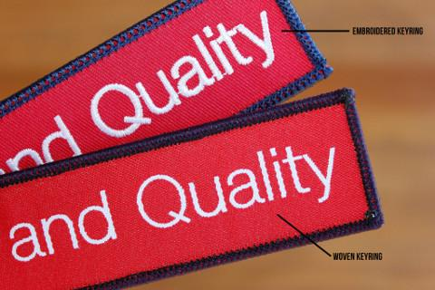 Embroidery versus Woven keychains